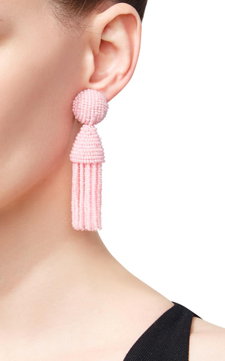 Oscar De La Renta Bead-embellished tassel-drop earrings pHvnKdoIHf