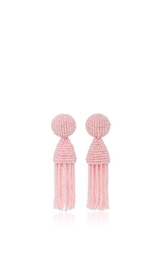 Medium oscar de la renta light pink pink beaded tassel earrings