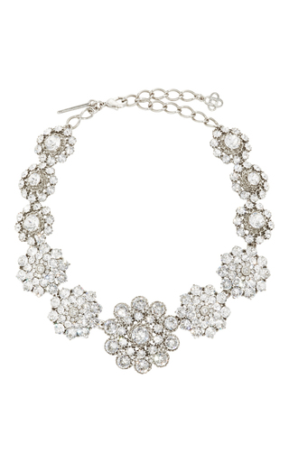 Medium oscar de la renta silver jeweled necklace