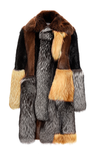 Medium bally multi fur coat in multicolour