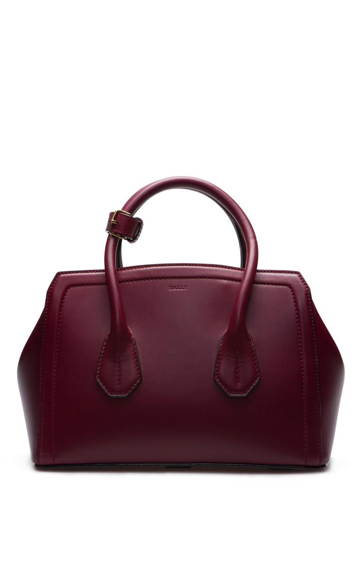 Leather Tote Bag In Dark Red by Bally | Moda Operandi