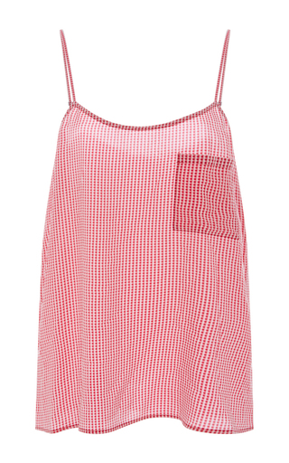Cara Silk Checked Camisole  by EQUIPMENT Now Available on Moda Operandi