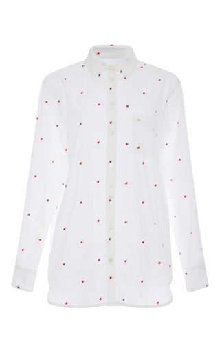 Kenton Apple Embroidered Cotton Shirt  by EQUIPMENT Now Available on Moda Operandi