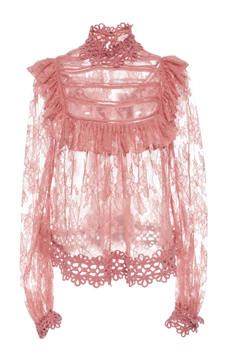 Medium zimmermann pink mischief manor ruffled blouse