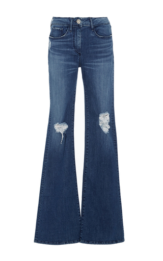 Medium 3x1 dark wash bell bottomed jeans with ripped patches