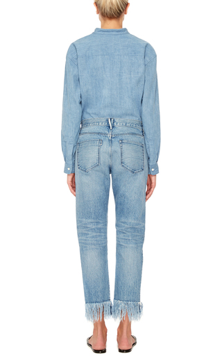 Wm3 Straight Cropped Mid Rise Fringed Jeans by 3X1 Now Available on Moda Operandi