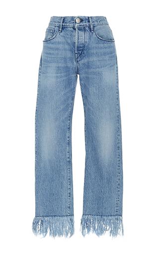 Medium 3x1 light wash wm3 straight cropped fringed jeans