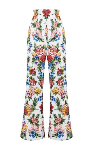 Medium emilia wickstead pink samy floral flared leg trousers