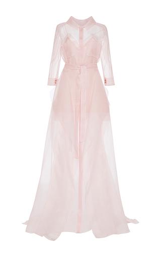 Medium carolina herrera pink sheer button front dress