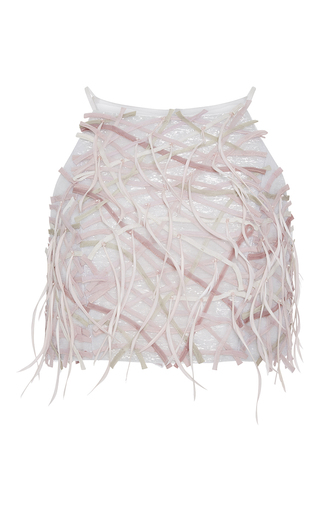Medium carolina herrera pink feather crop top
