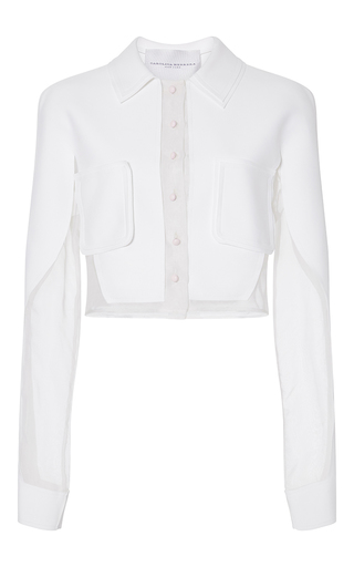 Medium carolina herrera white longsleeve crop blouse