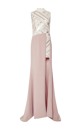 Medium bibhu mohapatra off white ivory medallion embroidered crepe gown