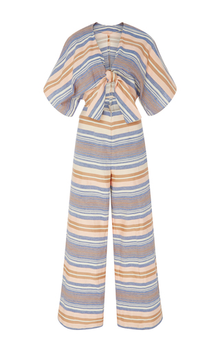 Medium solid striped stripe striped cotton jumpsuit