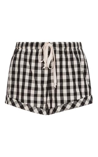 Medium solid striped black gingham drawcord shorts