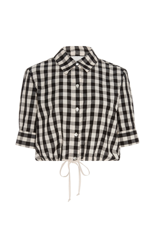 Medium solid striped plaid cotton gingham cropped button up shirt