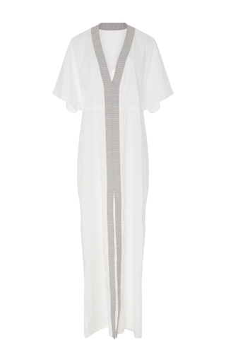 Medium solid striped white giodian combo stripe cape dress