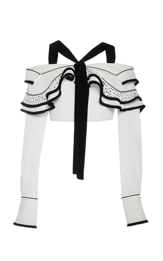 Medium proenza schouler white long sleeved halter crop top