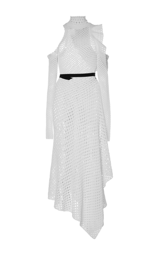 Proenza Schouler White Long Sleeved Off The Shoulder Waisted Dress
