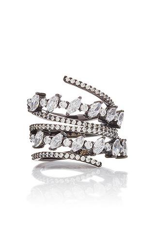 Medium fallon silver jagged edge spiral ring