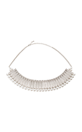 Medium fallon silver madison paneled pave choker