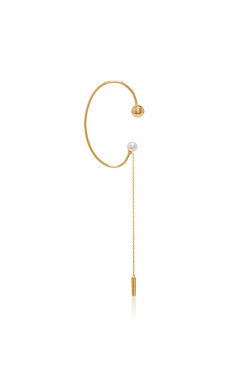 Medium fallon gold madison pearl dangle ear cuff
