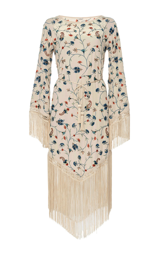Medium talitha print silk fringed scarf dress