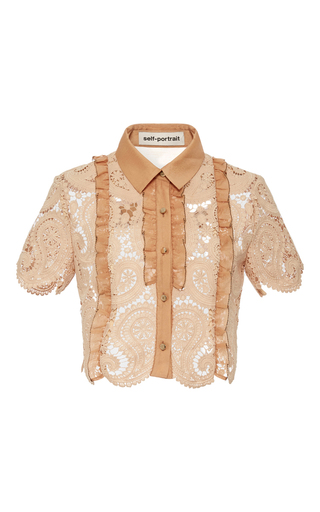 Medium self portrait tan short sleeve laced cropped shirt