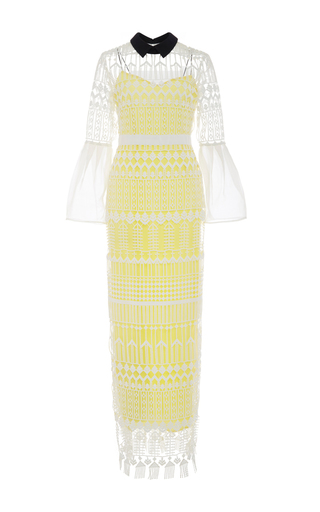Bell Sleeved Art Deco Dress  by SELF PORTRAIT Now Available on Moda Operandi