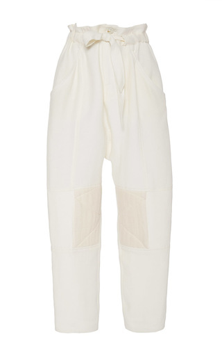Medium sea off white tied crepe pants