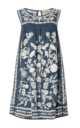 Medium sea medium wash hand stitched sleeveless dress