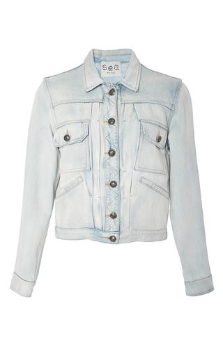 Medium sea light wash embroidered jean jacket