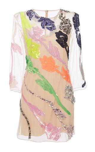 Medium blumarine nude short rose paillette shift dress