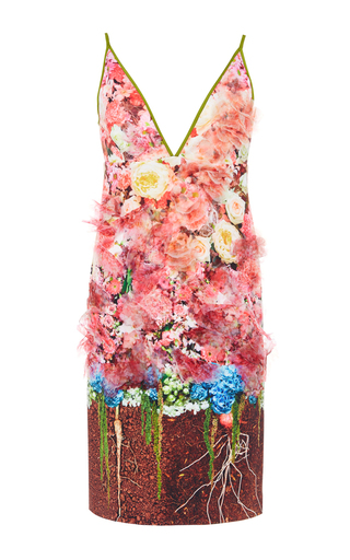 Medium clover canyon pink full blooms embellished camisole min dress
