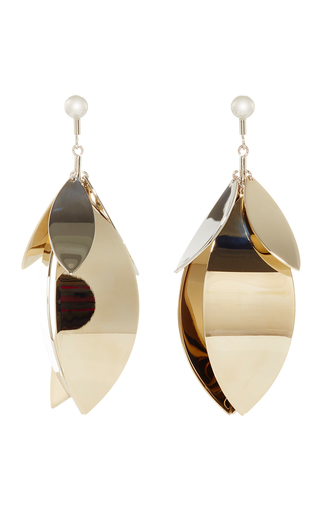 Medium proenza schouler gold gold and silver full leave earrings