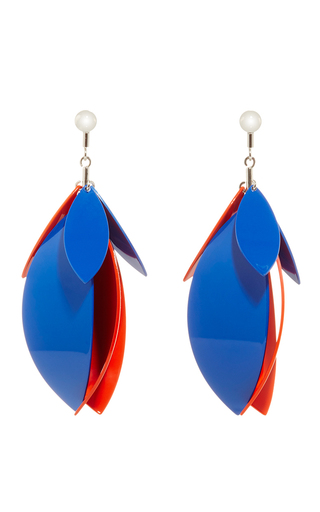 Medium proenza schouler blue electric blue and orange pepper full leave earrings