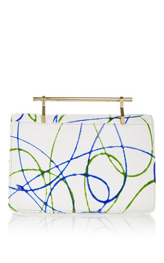 Indre In Green & Blue Paint Splashed Calf Leather by M2MALLETIER Now Available on Moda Operandi