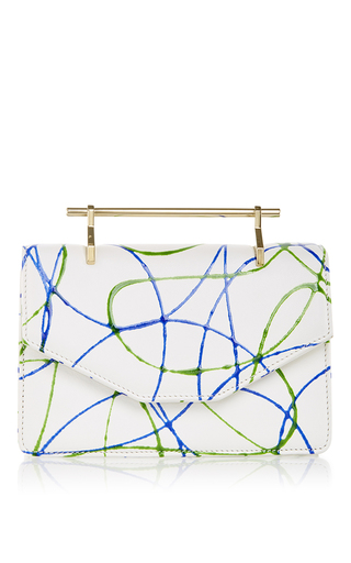 Medium m2malletier white indre in green blue paint splashed calf leather