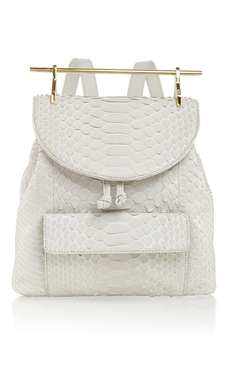 Medium m2malletier light grey backpack in light grey python