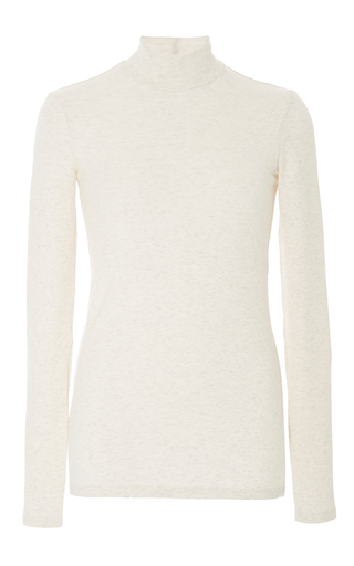 Medium atm nude oatmeal ribbed micro modal mock neck top