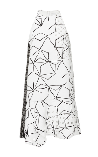 Medium j mendel ivory graphic textered crepe racer front dress with grommets