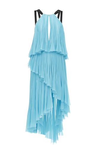 Medium j mendel light blue silk chiffon halter front handpleated asymmetric gown