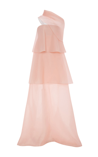 Medium delpozo light pink tiered silk gown with wide cowl neck