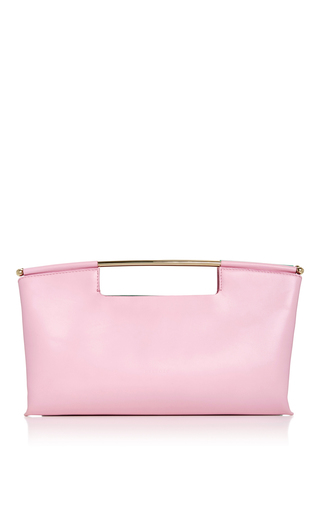 Medium delpozo multi pink calf leather clutch with metal handle
