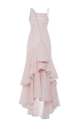Medium rosie assoulin red cotton intersection dress with ruffled hem