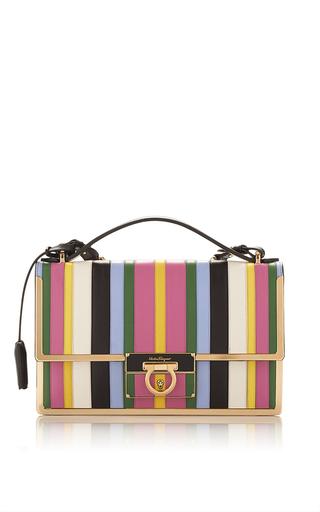 Medium salvatore ferragamo stripe rainbow stripe leather aileen shoulder bag