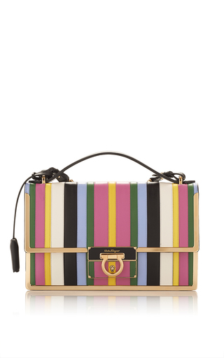 Medium salvatore ferragamo stripe rainbow stripe leather aileen shoulder bag