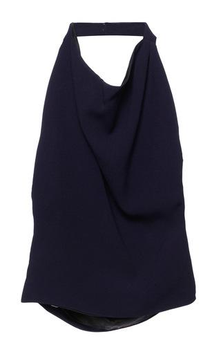 Medium bouchra jarrar blue marine blue cowl neck halter blouse