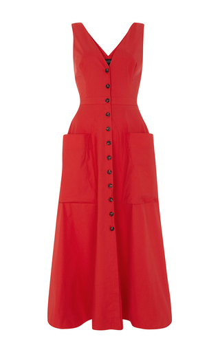 Medium saloni red zoey buttoned stretch cotton dress