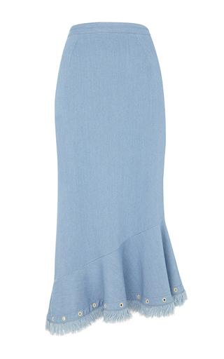 Medium saloni light wash grace denim trumpet skirt