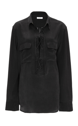 Black Silk Cross Tie Knox Blouse by EQUIPMENT Now Available on Moda Operandi